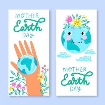 Banner hand-drawn mother earth day