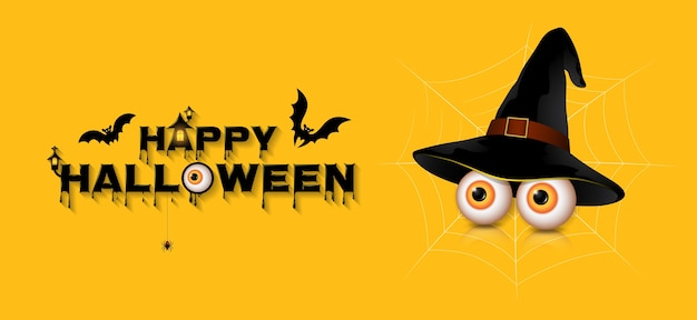 Banner happy halloween party trick or treat eyes