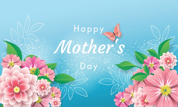 Banner happy mother's day greeting card love mom with flowers and butterfly