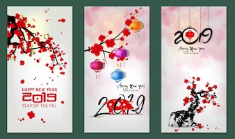 Banner happy new year 2019 greeting card