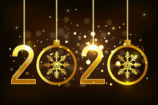 Banner of happy new year 2020 with snowflakes