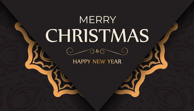 Banner happy new year and merry christmas in black color with winter pattern.