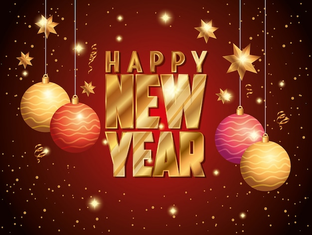 Banner of happy new year with balls decoration hanging