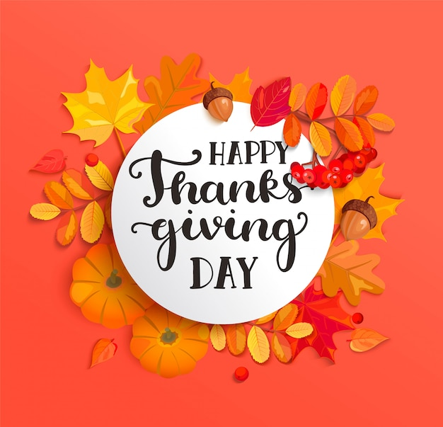 Banner for happy thanksgiving day celebration.