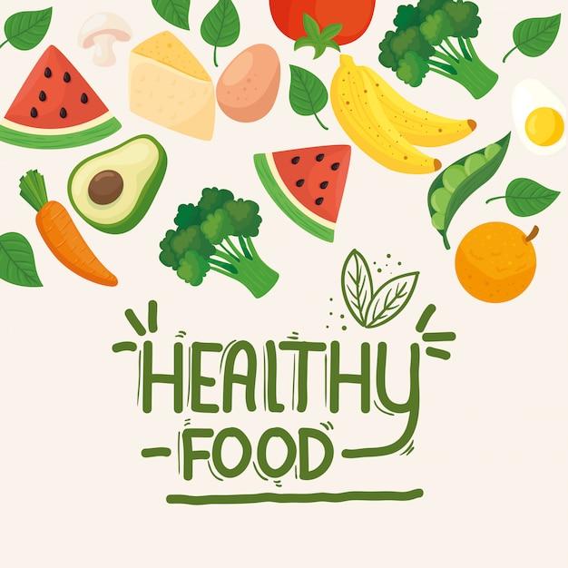 Баннер здоровой пищи, фруктов и овощей