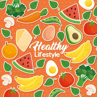 Баннер здорового образа жизни на фоне фруктов, овощей и здоровой пищи