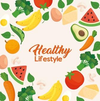 Баннер здорового образа жизни, овощи с фруктами и продуктами питания