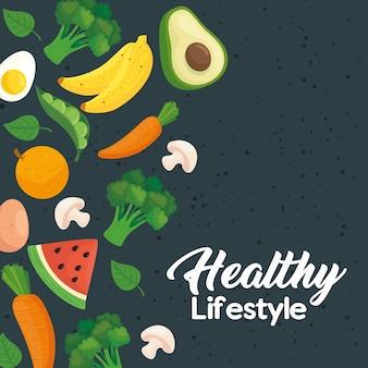 Баннер здорового образа жизни, с овощами и фруктами