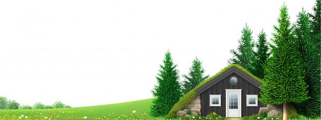 森の端にあるバナー小屋