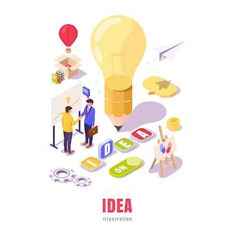 배너 아이디어 램프 연필. 창조적 인 사람들의 협력.