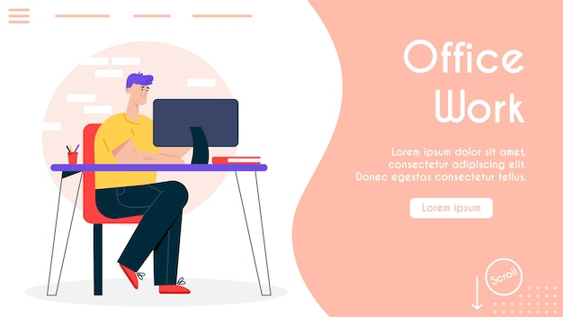Banner illustration of comfortable workplace at office. man sits at desk, working on computer. modern workspace, coworking center, freelance work at home. ergonomic furniture  interior