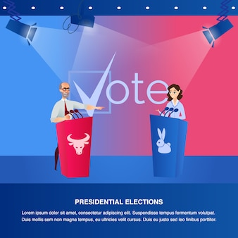 Banner illustration debate presidential elections