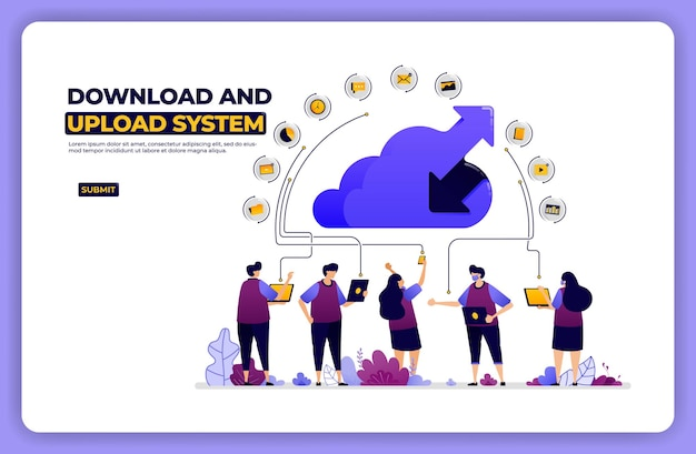 Banner illustration of download and upload system. cloud network sharing activity.