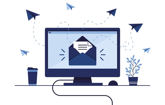 Banner illustration of email marketing. workplace at home, in the office. computer, pc. mailbox with a letter and envelope. receive and send messages. paper airplane. blue.