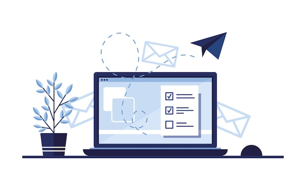 Banner illustration of email marketing. workplace at home, in the office. laptop. paper airplane. completed application form for the site. filling out documents. monitor screen. blue.