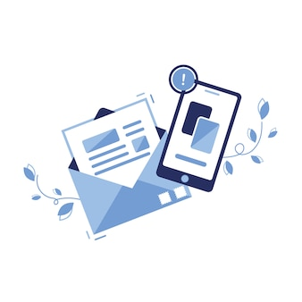 Banner illustration icon of email marketing & message concept. letter, sheet in an envelope. sending application. for sites, web. paper. phone, newsletter. important notice. article.