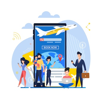 Banner illustration mobile app book now on plane