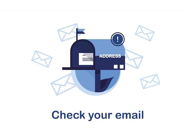 メールマーケティングのバナーイラスト。ニュースレター、ニュース、オファー、プロモーションの購読。手紙と封筒のメールボックス。受信者のアドレスに送信しています。メールをチェックして下さい。青い。