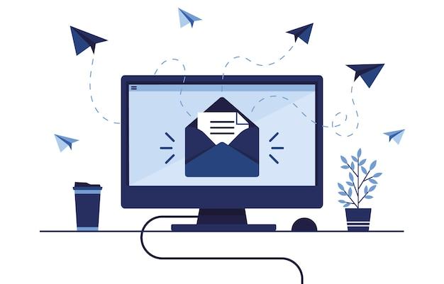 Баннер иллюстрация почтового маркетинга. рабочее место дома, в офисе. компьютер, пк. почтовый ящик с письмом и конвертом. получать и отправлять сообщения. бумажный самолетик. синий.