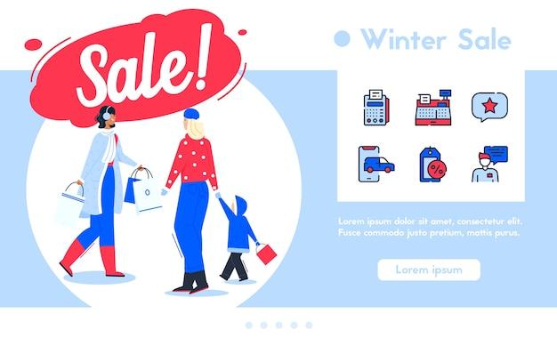 ウィンターセールでのショッピングのバナーイラスト。購入したキャラクターの女性。幸せなお客様のお母さんと子供が歩いています。色線形アイコンセット-支払い、レジ、割引、ストアコンサルタント