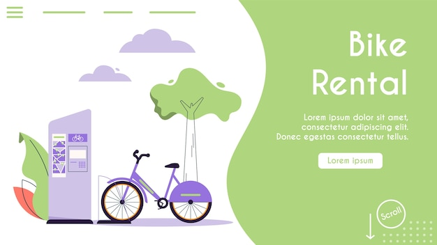 都市のエコ輸送のバナーイラスト。公共自転車レンタルサービス。自転車は駅に立って、輸送車両を乗せています。現代の都市環境とインフラ