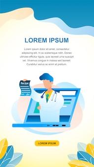 Баннер иллюстрация онлайн доктор консультация