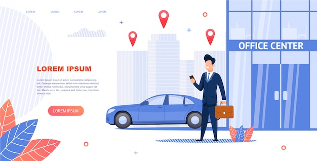 Banner illustration renting car to office center