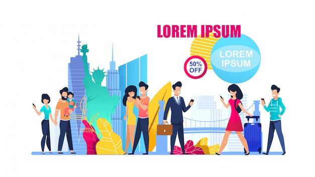 Banner illustration special offer on world tour
