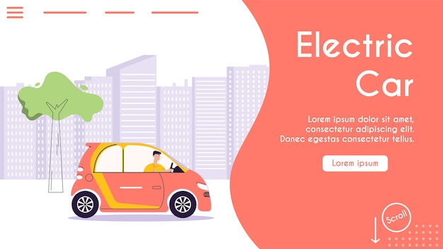 Banner illustration of urban eco transport. character driver driving electric car, cityscape. modern urban environment and infrastructure, eco friendly lifestyle concept