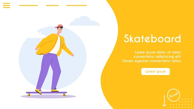Banner illustration of urban eco transport. character man riding skateboard. modern urban environment infrastructure, green energy, healthcare, eco friendly lifestyle concept