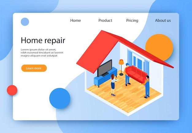 Banner inscription home repair vector illustration