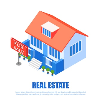 Banner inscription real estate vector illustration