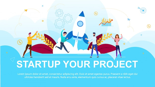 Banner inscription startup your project cartoon