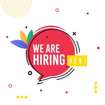Banner inscription we are hiring now cartoon.