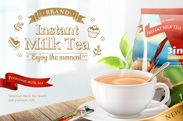 Banner of instant milk tea on wooden table in 3d style