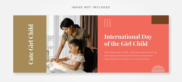 Banner international day of the girl child template with photo