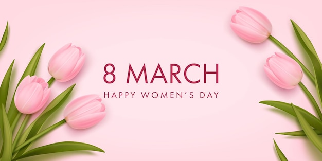 Banner for the international women's day with realistic tulips