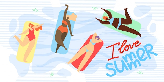 Banner is written i love summer illustration