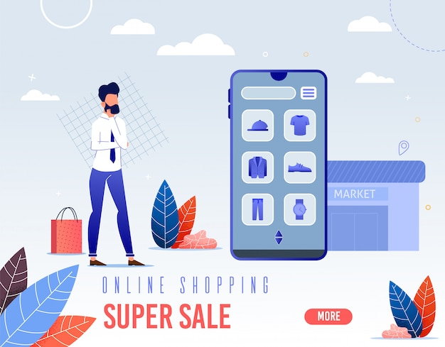 Banner is written online shopping super sale.