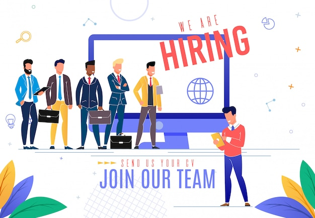 Banner is written we are hiring cartoon flat.