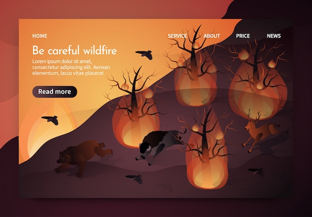 Banner isometric is written be careful wildfire.