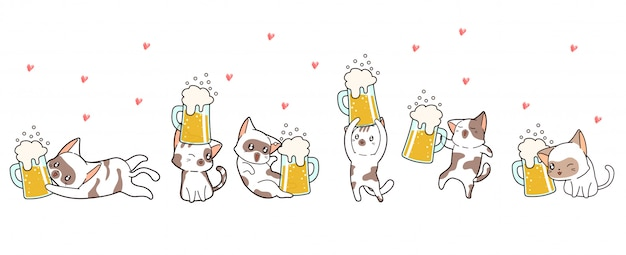 Banner kawaii cat characters has happy time with beer