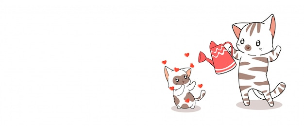 Banner kawaii cat is feeding baby cat with love