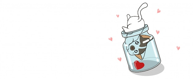 Banner kawaii cat is finding heart in the bottle