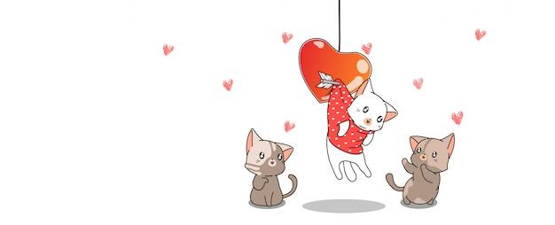 Баннер каваий кот висит с сердцем и друзьями