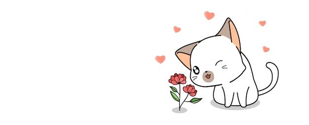 Banner kawaii cat is loving mini flower