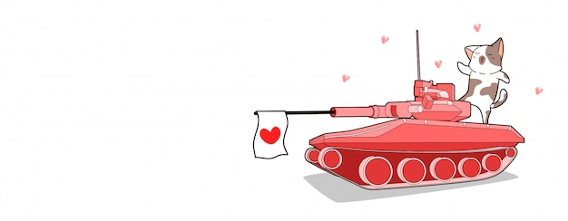 Banner kawaii cat and loving tank is shooting heart