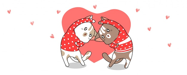 Banner kawaii cats are acting with heart for valentines day