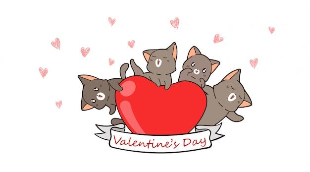 Баннер каваий кошки обнимают сердце на день святого валентина