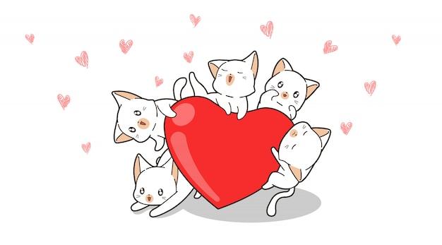 Баннер каваий кошки обнимают сердце